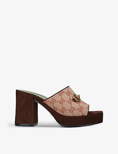 GUCCI: Houdan canvas and suede platform sandals