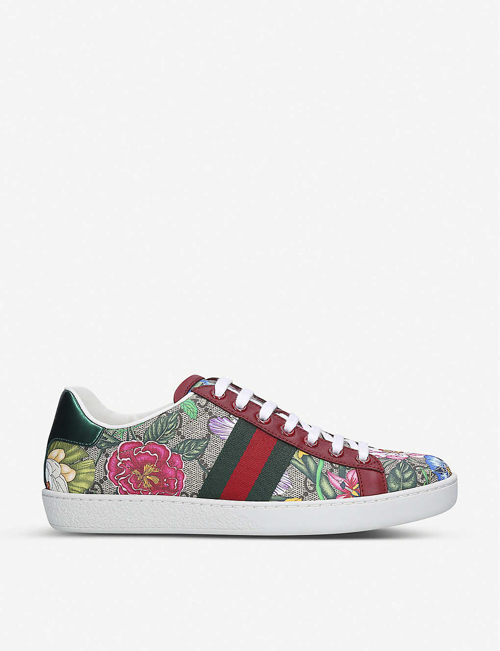GUCCI: New Ace floral-print leather trainers