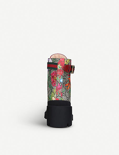 GUCCI Trip floral-print leather ankle boots