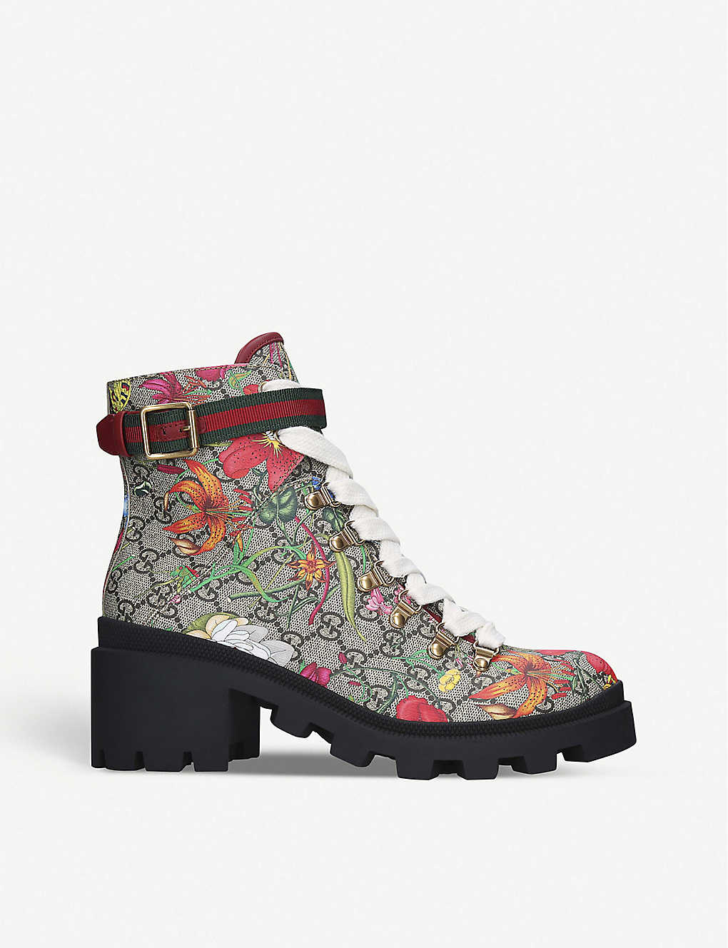 GUCCI: Trip floral-print leather ankle boots