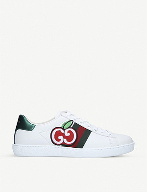 GUCCI New Ace apple-print leather trainers