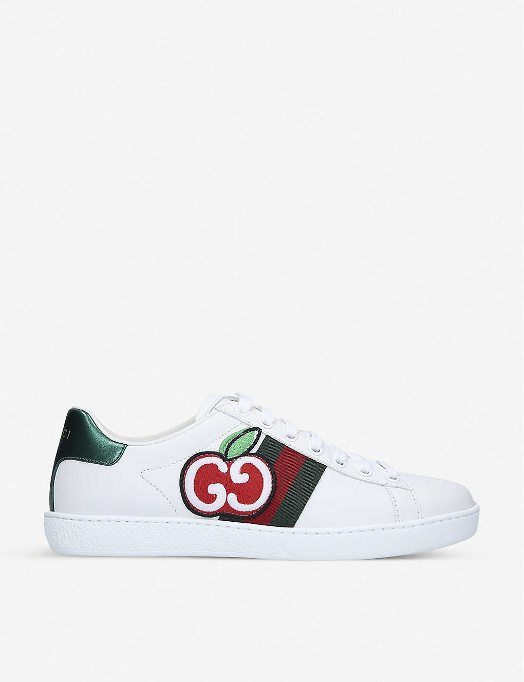 GUCCI: New Ace apple-print leather trainers