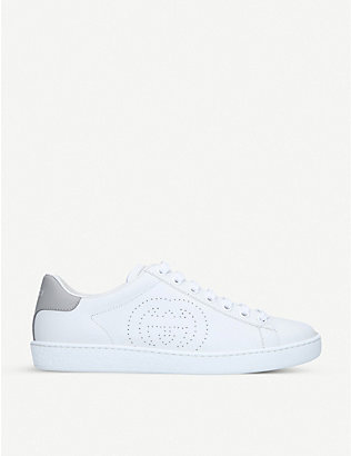 GUCCI: New Ace embroidered leather trainers