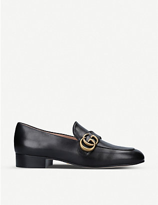 GUCCI: Marmont logo-detail leather loafers