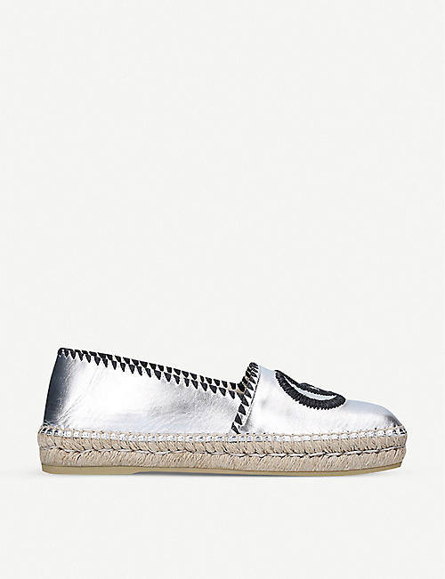 GUCCI: Miguel metallic leather espadrille sandals