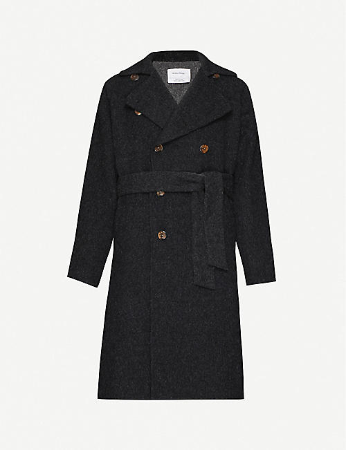 THE INOUE BROTHERS Double-breasted brushed-texture alpaca-blend coat