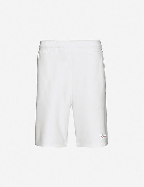GIVENCHY: Rainbow logo-embroidered cotton-jersey shorts