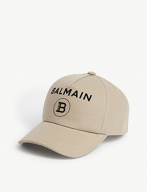 BALMAIN Logo cotton canvas baseball cap