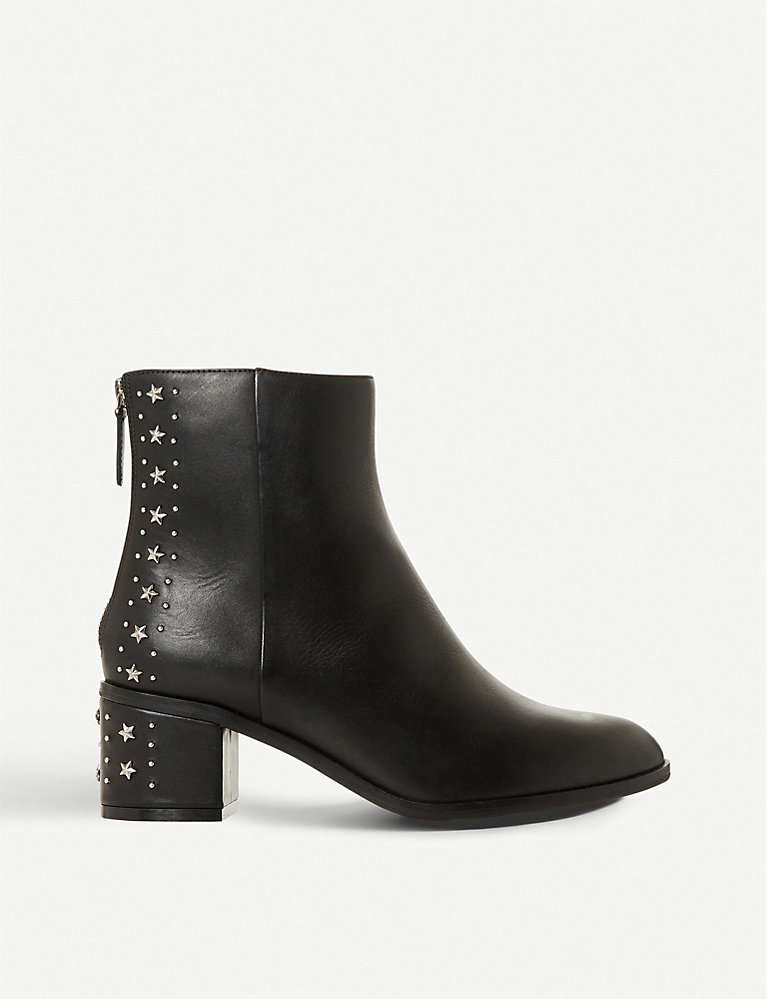 Dune Star-embellished leather mid-heel boot