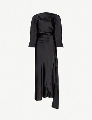 PETAR PETROV Aida asymmetric-hem satin midi dress