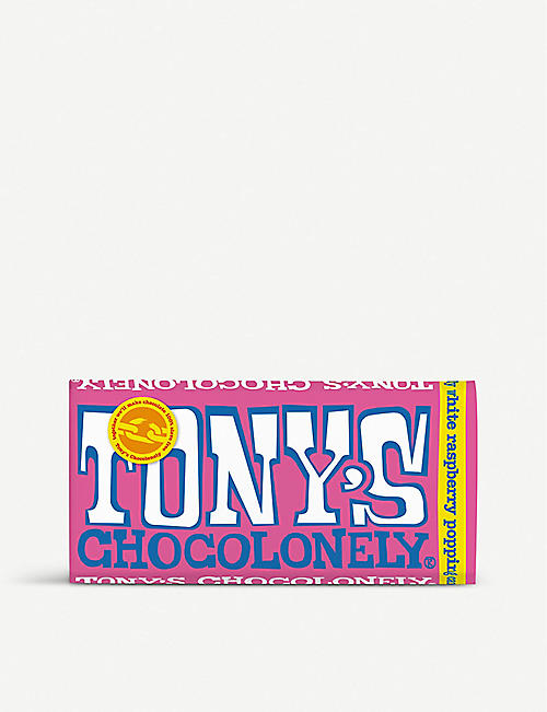 TONY'S: White raspberry popping candy chocolate 180g