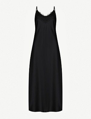 MAX MARA Lace-trimmed satin midi dress