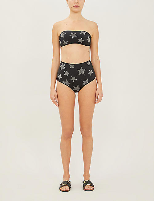 STELLA MCCARTNEY Stud-embellished high-rise bikini bottoms