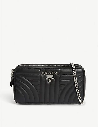 PRADA: Diagramme quilted leather crossbody bag