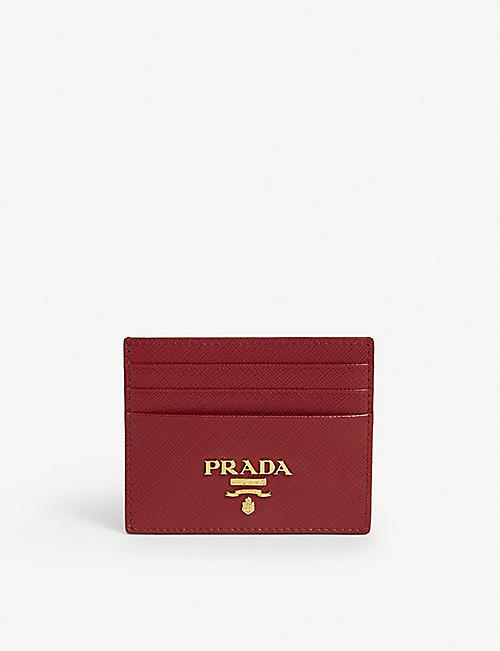 PRADA: Logo Saffiano leather cardholder