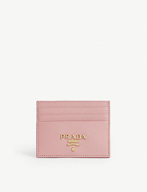 PRADA Logo Saffiano leather cardholder