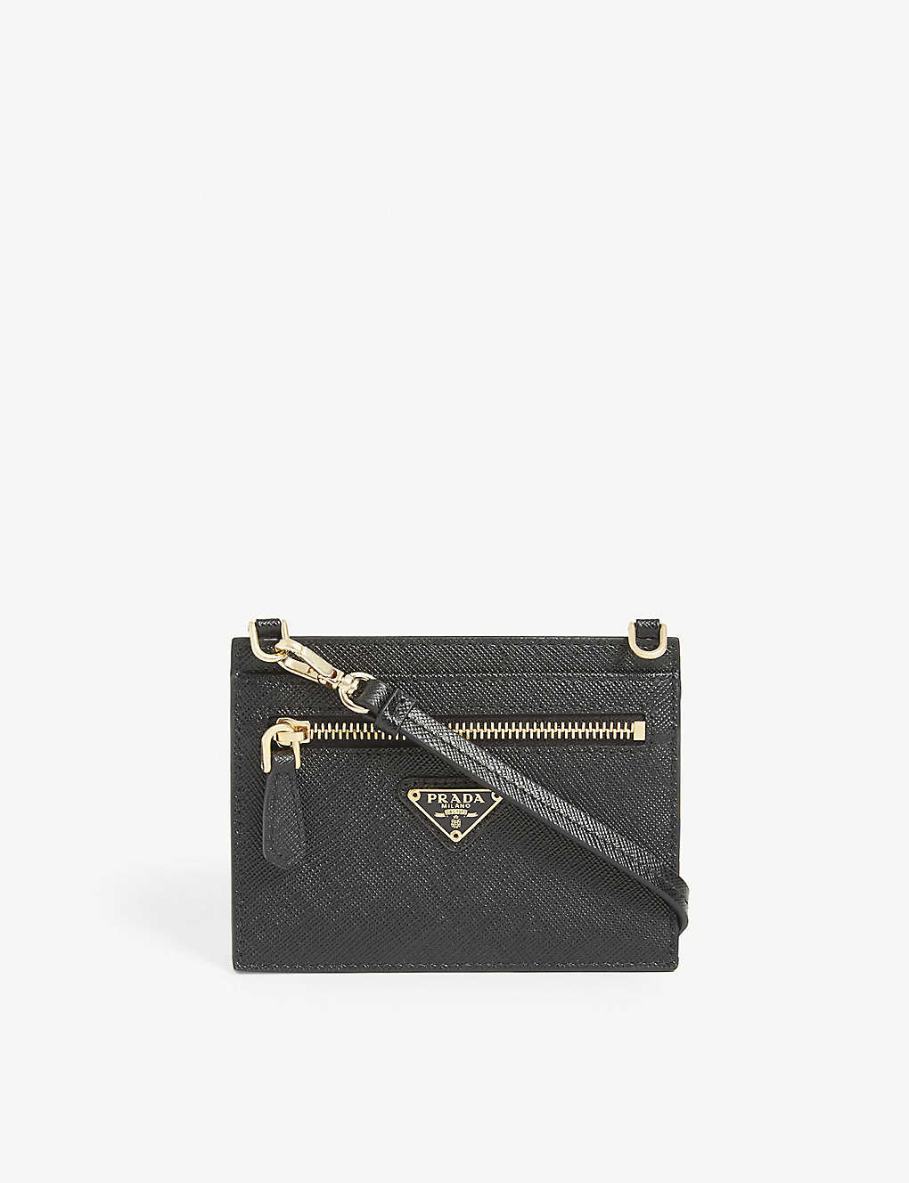 PRADA: Leather card holder on strap