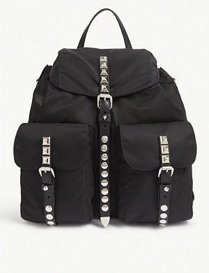 PRADA Studded nylon backpack