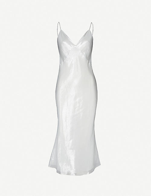OLIVIA VON HALLE Issa silk-satin slip dress