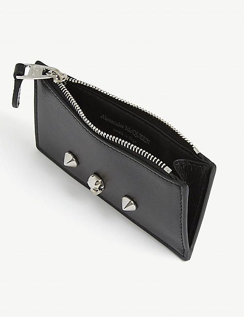 ALEXANDER MCQUEEN Skull and stud leather card holder