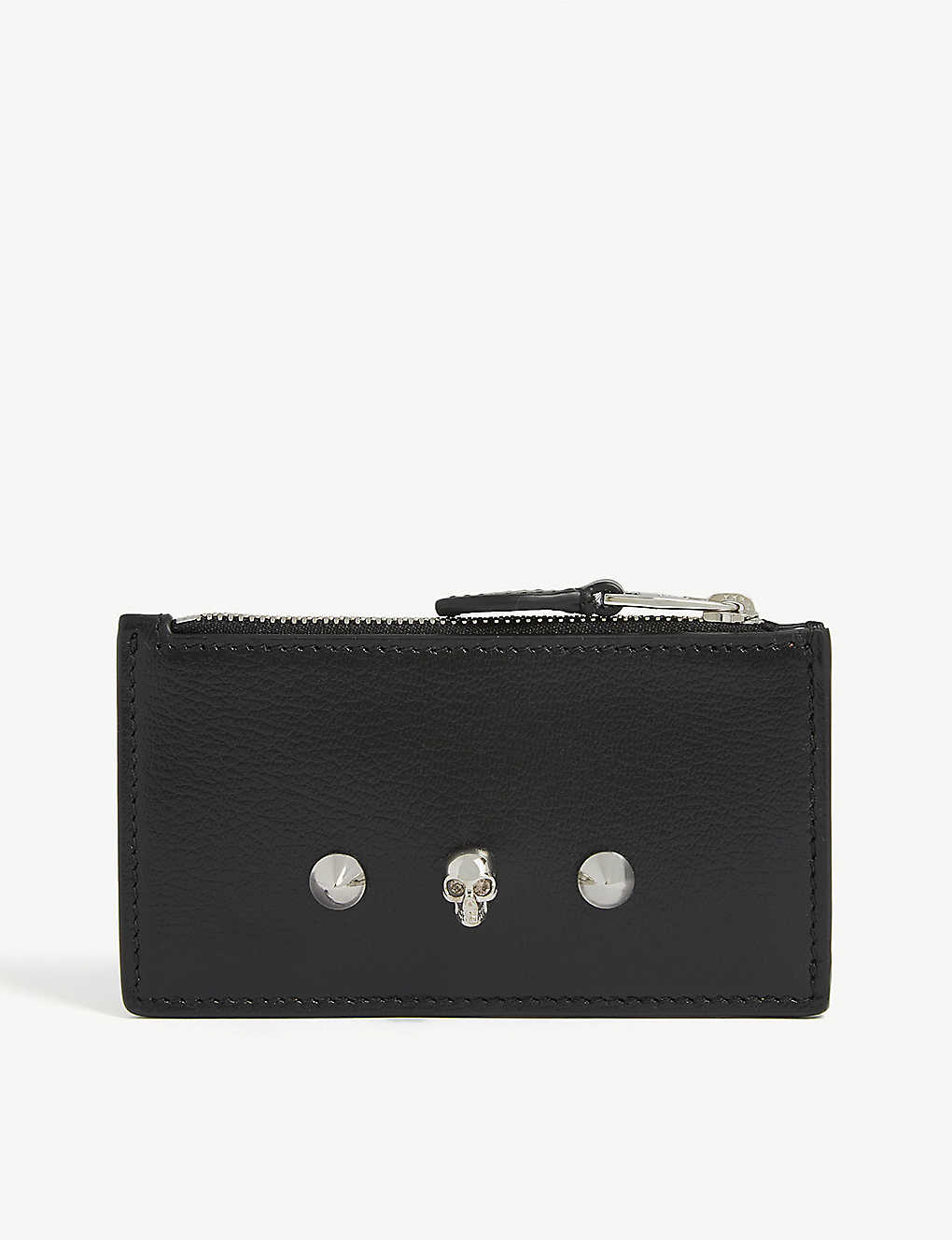 ALEXANDER MCQUEEN: Skull and stud leather card holder