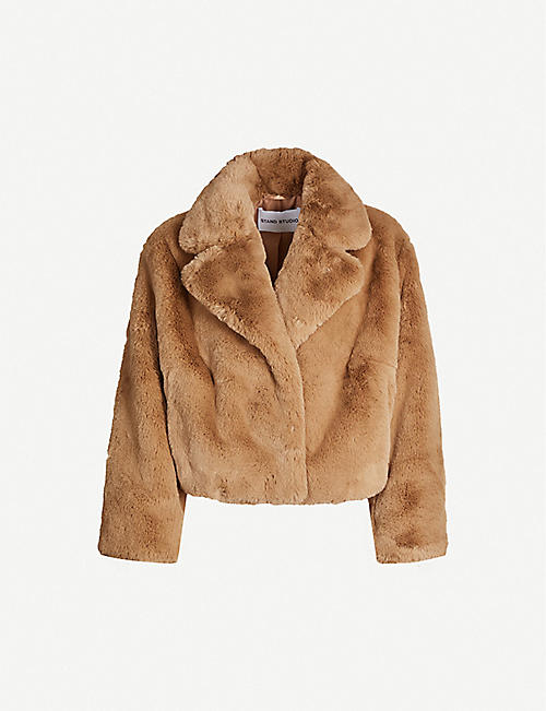 STAND: Janet cropped faux-fur coat