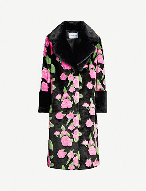 STAND Liliana floral-print faux-fur coat