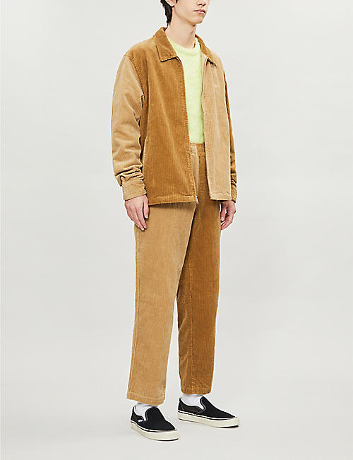 STUSSY Branded-tab contrast-panel corduroy trousers