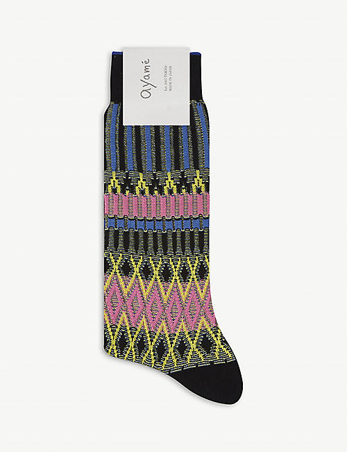 AYAME Patterned cotton-blend socks