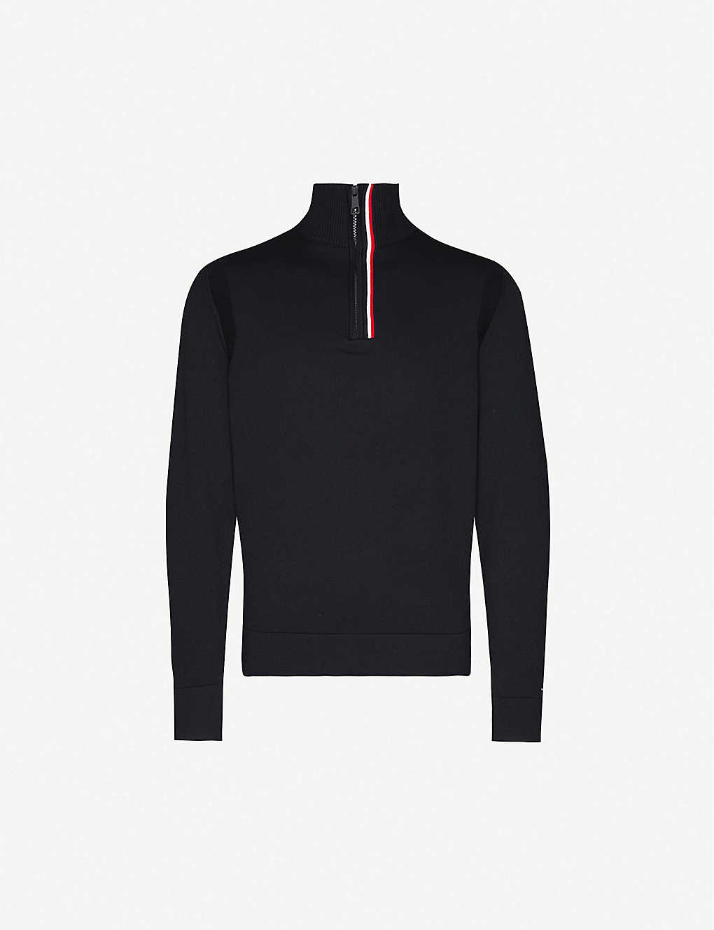 TOMMY HILFIGER: Zipped cotton-blend knitted jumper