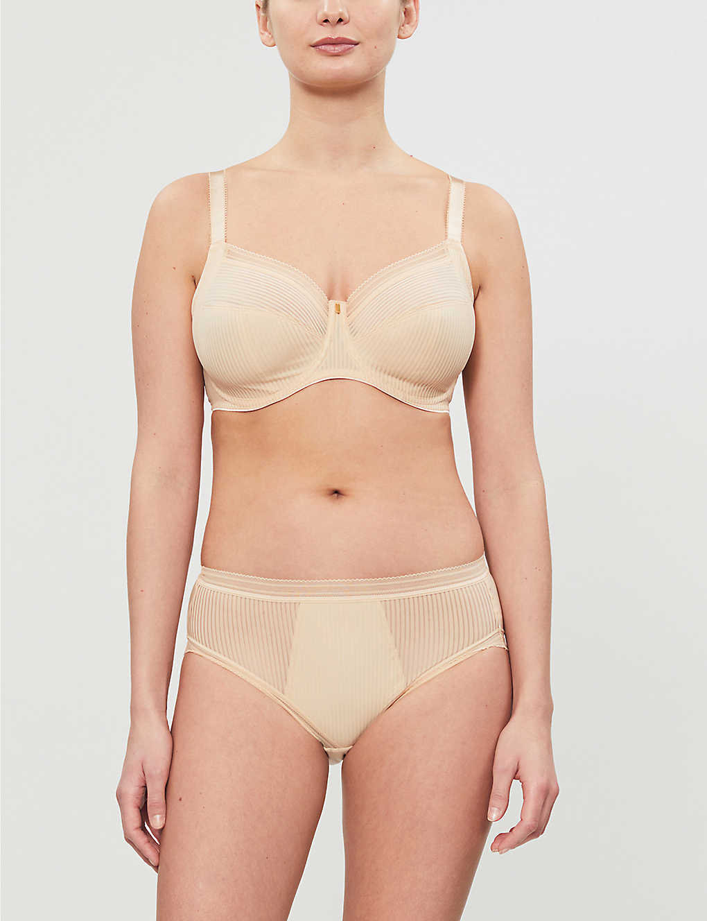 FANTASIE: Fusion striped underwired mesh and stretch-jersey bra