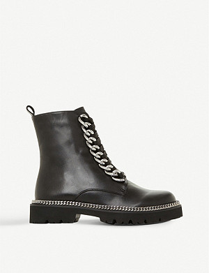 DUNE Chain detail leather biker boots