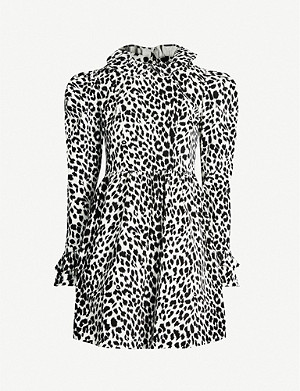 BATSHEVA Prairie leopard-print velvet mini dress