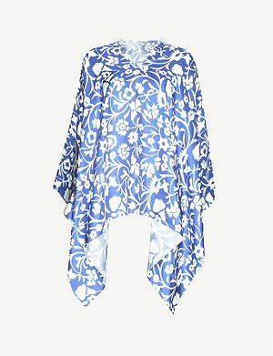 PDN LONDON Floral-print asymmetric silk-twill poncho