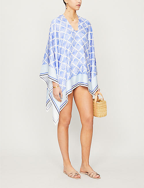 PDN LONDON Geometric-print silk-twill poncho