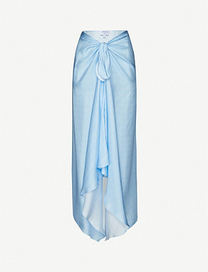 PDN LONDON Self-tie high-waist silk midi skirt