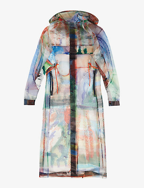 QUETSCHE: Graphic-print organza coat
