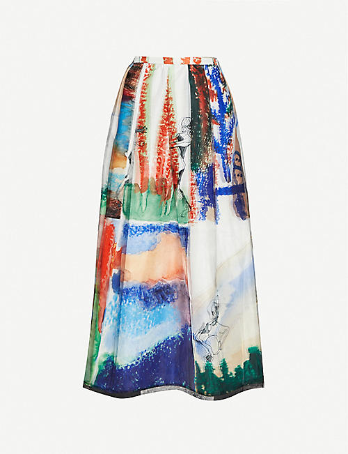 QUETSCHE: Printed satin midi skirt