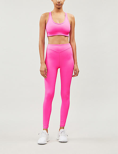 ADAM SELMAN SPORT Plunge high-rise jersey leggings