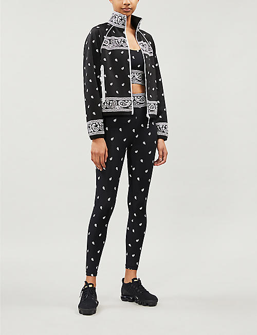 ADAM SELMAN SPORT High-rise graphic-print stretch-jersey leggings