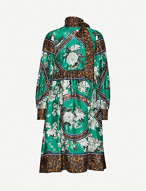 ERDEM Medina floral-print stretch-satin dress