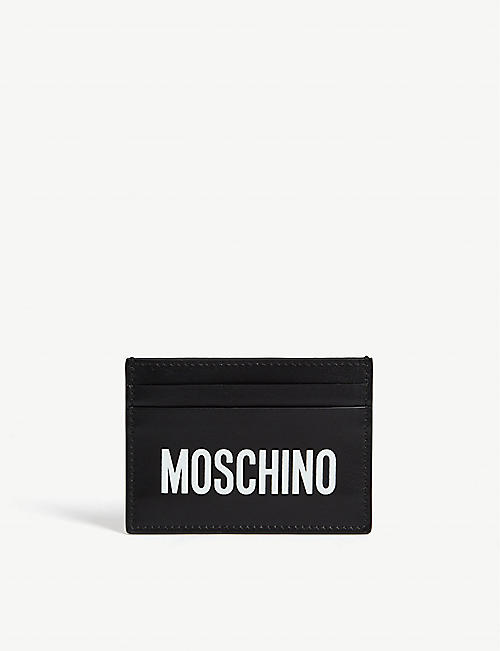 MOSCHINO Logo leather card holder