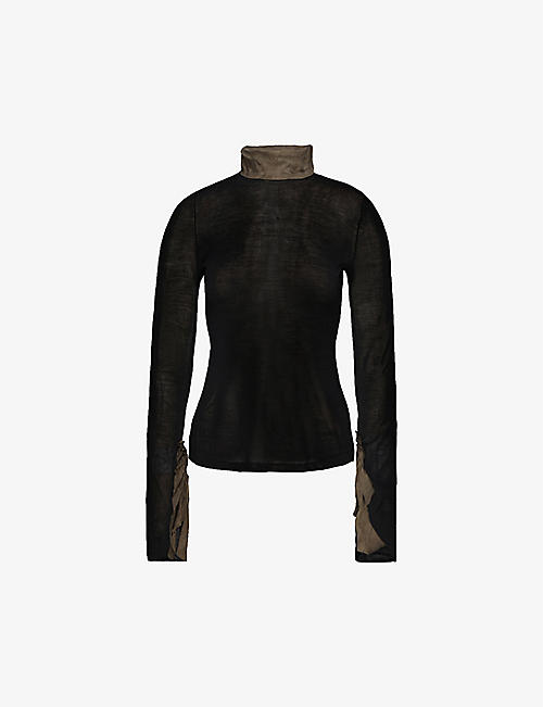 PHAEDO: Ruched silk-blend top