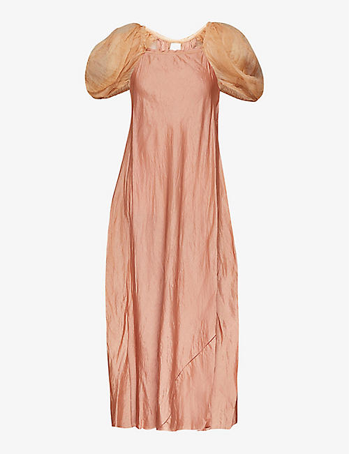 PHAEDO: Puffed-sleeve silk and wool-blend maxi dress