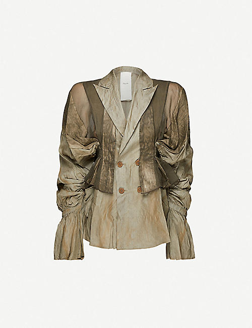 PHAEDO: Ruched double-breasted silk and linen-blend jacket