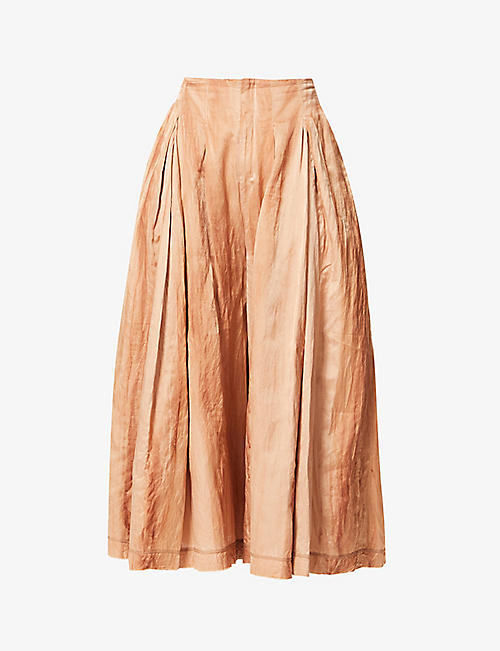 PHAEDO: Flared cotton and silk-blend maxi skirt