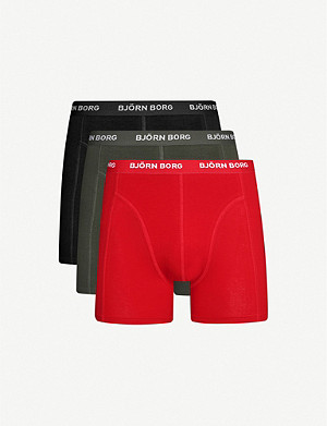 BJORN BORG Pack of three solid classic-fit stretch-cotton trunks