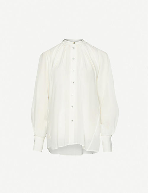 TOPSHOP Puffed-sleeve silk shirt