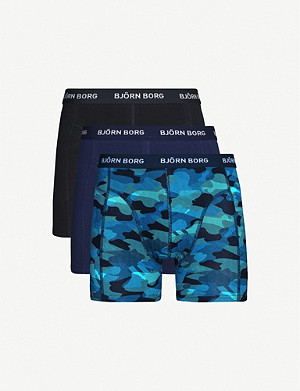 BJORN BORG Graphic-print stretch-cotton pack of three trunks