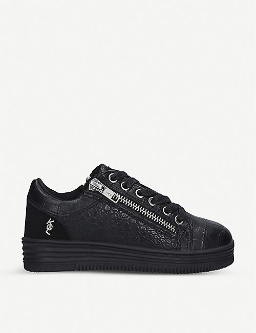 KURT GEIGER LONDON: Mini Capone crocodile-embossed faux-leather trainers 8-13 years